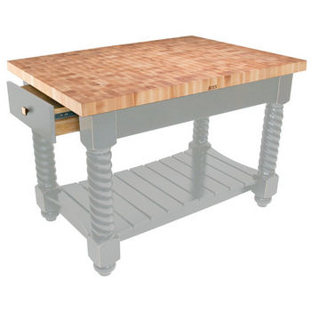"John Boos Tuscan Isle Maple End Grain Boos Butcher Block Kitchen Island, Useful Gray Stain Base, 54""W x 32""D x 36""H"