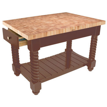 "John Boos Tuscan Isle - Maple End Grain Boos Block, Walnut Stain Base, 54""W x 32""D x 36""H"