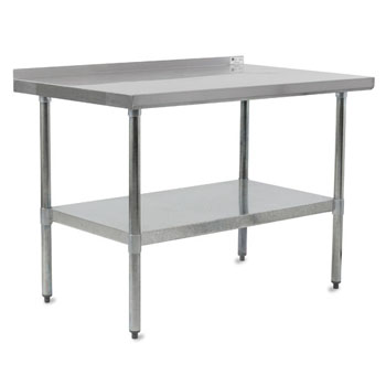 Work Table w/ Riser, Galvanized Legs & Shelf