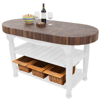 "John Boos Harvest Table with 4"" Thick End Grain Walnut Oval Top & 3 Wicker Baskets, 60""W x 30""D x 4""H, Alabaster"