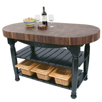"John Boos Harvest Table with 4"" Thick End Grain Walnut Oval Top & 3 Wicker Baskets, 60""W x 30""D x 4""H, Black"
