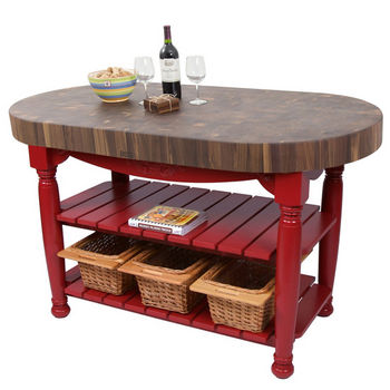 "John Boos Harvest Table with 4"" Thick End Grain Walnut Oval Top & 3 Wicker Baskets, 60""W x 30""D x 4""H, Barn Red"
