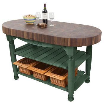 "John Boos Harvest Table with 4"" Thick End Grain Walnut Oval Top & 3 Wicker Baskets, 60""W x 30""D x 4""H, Basil"
