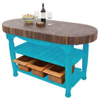 "John Boos Harvest Table with 4"" Thick End Grain Walnut Oval Top & 3 Wicker Baskets, 60""W x 30""D x 4""H, Caribbean Blue"