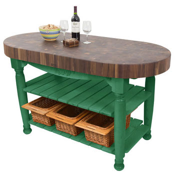 "John Boos Harvest Table with 4"" Thick End Grain Walnut Oval Top & 3 Wicker Baskets, 60""W x 30""D x 4""H, Clover Green"