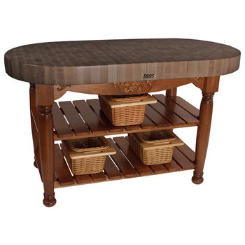 "John Boos Harvest Table with 4"" Thick End Grain Walnut Oval Top & 3 Wicker Baskets, 60""W x 30""D x 4""H, Cherry Stain"