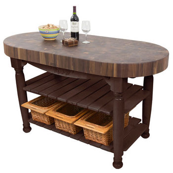 "John Boos Harvest Table with 4"" Thick End Grain Walnut Oval Top & 3 Wicker Baskets, 60""W x 30""D x 4""H, French Roast"