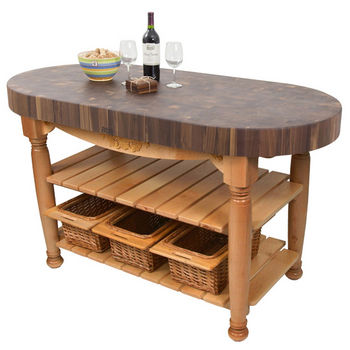 "John Boos Harvest Table with 4"" Thick End Grain Walnut Oval Top & 3 Wicker Baskets, 60""W x 30""D x 4""H, Natural Maple"