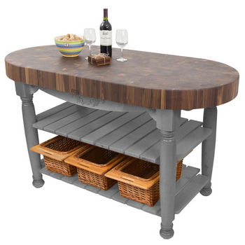 "John Boos Harvest Table with 4"" Thick End Grain Walnut Oval Top & 3 Wicker Baskets, 60""W x 30""D x 4""H, Slate Gray"