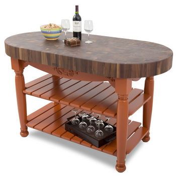 "John Boos Harvest Table with 4"" Thick End Grain Walnut Oval Top & 3 Wicker Baskets, 60""W x 30""D x 4""H, Spicy Latte"