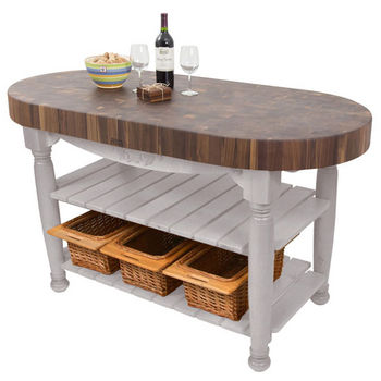 "John Boos Harvest Table with 4"" Thick End Grain Walnut Oval Top & 3 Wicker Baskets, 60""W x 30""D x 4""H, Useful Gray Stain"