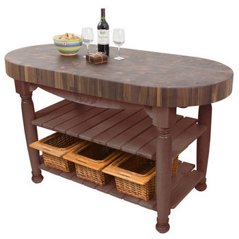 "John Boos Harvest Table with 4"" Thick End Grain Walnut Oval Top & 3 Wicker Baskets, 60""W x 30""D x 4""H, Walnut Stain"