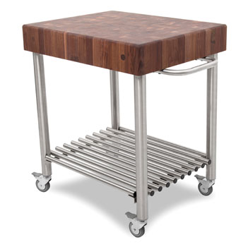 John Boos Black Walnut Butcher Block Top Kitchen Cart Angle View