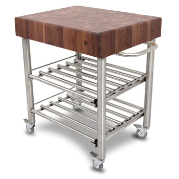 John Boos Black Walnut Butcher Top Wine Cart Angle View