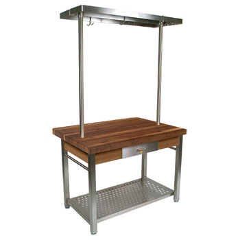 "John Boos Walnut Cucina Grande Kitchen Work Table with 8"" Drop Leaf & 48""W Above Table Pot Rack"