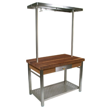 "John Boos Walnut Cucina Grande Kitchen Work Table with 48""W Above Table Pot Rack"