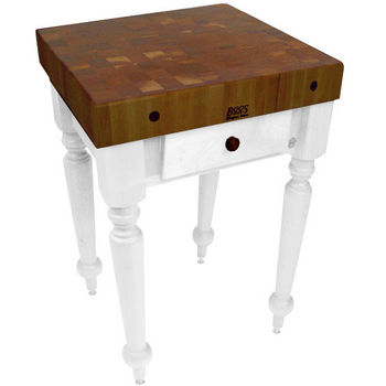 "John Boos Rustica Kitchen Island with 4"" Thick Walnut End Grain Top, Alabaster, 30""W, 1 Drawer & Shelf"