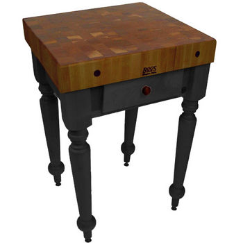 "John Boos Rustica Kitchen Island with 4"" Thick Walnut End Grain Top, Black, 30""W, 1 Drawer"