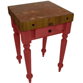 "John Boos Rustica Kitchen Island with 4"" Thick Walnut End Grain Top, Barn Red, 30""W, 1 Drawer"