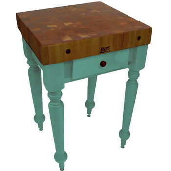 "John Boos Rustica Kitchen Island with 4"" Thick Walnut End Grain Top, Basil, 30""W, 1 Drawer"