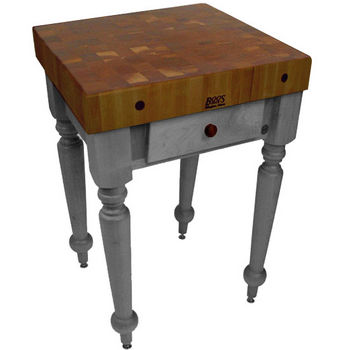 "John Boos Rustica Kitchen Island with 4"" Thick Walnut End Grain Top, Slate Gray, 30""W, 1 Drawer"