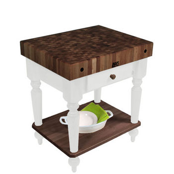 "John Boos Rustica Kitchen Island with 4"" Thick Walnut End Grain Top, Alabaster, 48""W, 2 Drawers"