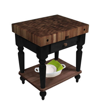 "John Boos Rustica Kitchen Island with 4"" Thick Walnut End Grain Top, Black, 30""W, 1 Drawer & Shelf"