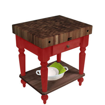 "John Boos Rustica Kitchen Island with 4"" Thick Walnut End Grain Top, Barn Red, 30""W, 1 Drawer & Shelf"