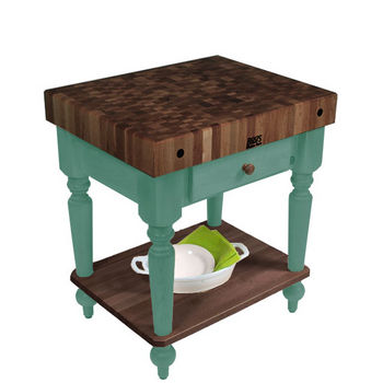 "John Boos Rustica Kitchen Island with 4"" Thick Walnut End Grain Top, Basil, 30""W, 1 Drawer & Shelf"