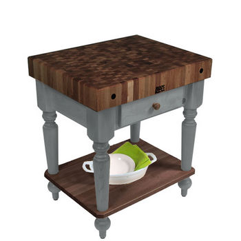 "John Boos Rustica Kitchen Island with 4"" Thick Walnut End Grain Top, Slate Gray, 30""W, 1 Drawer & Shelf"