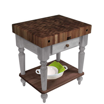 "John Boos Rustica Kitchen Island with 4"" Thick Walnut End Grain Top, Useful Gray, 30""W, 1 Drawer & Shelf"