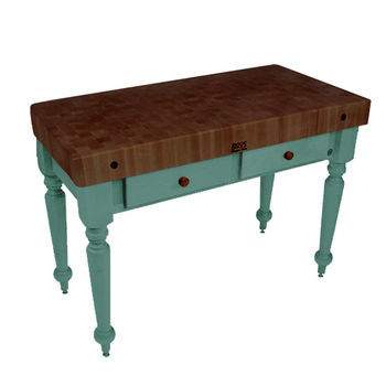 "John Boos Rustica Kitchen Island with 4"" Thick Walnut End Grain Top, Basil, 48""W, 2 Drawers"