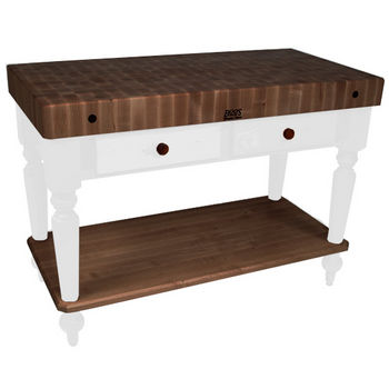 "John Boos Rustica Kitchen Island with 4"" Thick Walnut End Grain Top, Alabaster, 48""W, 2 Drawers & Shelf"