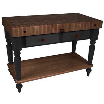 "John Boos Rustica Kitchen Island with 4"" Thick Walnut End Grain Top, Black, 48""W, 2 Drawers & Shelf"