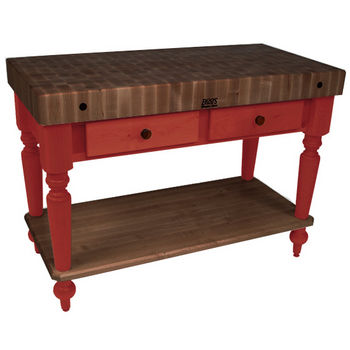 "John Boos Rustica Kitchen Island with 4"" Thick Walnut End Grain Top, Barn Red, 48""W, 2 Drawers & Shelf"