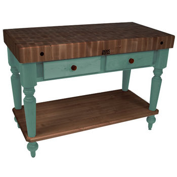 "John Boos Rustica Kitchen Island with 4"" Thick Walnut End Grain Top, Basil, 48""W, 2 Drawers & Shelf"
