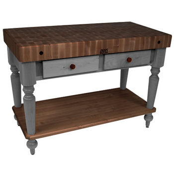 "John Boos Rustica Kitchen Island with 4"" Thick Walnut End Grain Top, Slate Gray, 48""W, 2 Drawers & Shelf"
