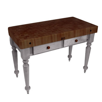 "John Boos Rustica Kitchen Island with 4"" Thick Walnut End Grain Top, Useful Gray, 48""W, 2 Drawers"