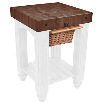 "John Boos Gathering Block with 4"" Thick End Grain Walnut Top and Pull Out Wicker Basket, 25"" W x 24"" D x 36"" H, Alabaster"