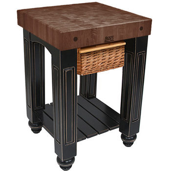 "John Boos Gathering Block with 4"" Thick End Grain Walnut Top and Pull Out Wicker Basket, 25"" W x 24"" D x 36"" H, Black"