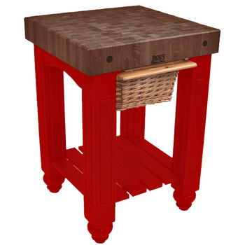 "John Boos Gathering Block with 4"" Thick End Grain Walnut Top and Pull Out Wicker Basket, 25"" W x 24"" D x 36"" H, Barn Red"