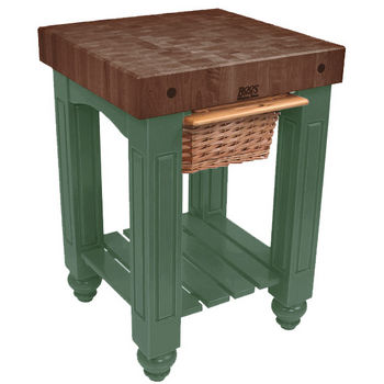 "John Boos Gathering Block with 4"" Thick End Grain Walnut Top and Pull Out Wicker Basket, 25"" W x 24"" D x 36"" H, Basil"