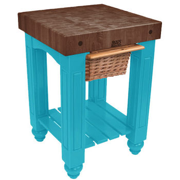 "John Boos Gathering Block with 4"" Thick End Grain Walnut Top and Pull Out Wicker Basket, 25"" W x 24"" D x 36"" H, Caribbean Blue"