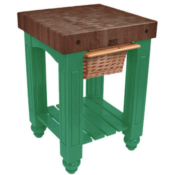 "John Boos Gathering Block with 4"" Thick End Grain Walnut Top and Pull Out Wicker Basket, 25"" W x 24"" D x 36"" H, Clover Green"