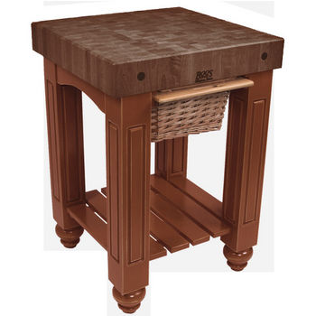 "John Boos Gathering Block with 4"" Thick End Grain Walnut Top and Pull Out Wicker Basket, 25"" W x 24"" D x 36"" H, Cherry Stain"
