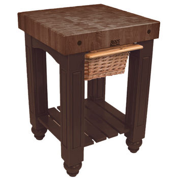 "John Boos Gathering Block with 4"" Thick End Grain Walnut Top and Pull Out Wicker Basket, 25"" W x 24"" D x 36"" H, French Roast"