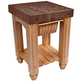 "John Boos Gathering Block with 4"" Thick End Grain Walnut Top and Pull Out Wicker Basket, 25"" W x 24"" D x 36"" H, Natural Maple"