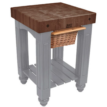 "John Boos Gathering Block with 4"" Thick End Grain Walnut Top and Pull Out Wicker Basket, 25"" W x 24"" D x 36"" H, Slate Gray"