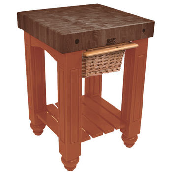 "John Boos Gathering Block with 4"" Thick End Grain Walnut Top and Pull Out Wicker Basket, 25"" W x 24"" D x 36"" H, Spicy Latte"