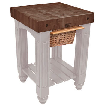 "John Boos Gathering Block with 4"" Thick End Grain Walnut Top and Pull Out Wicker Basket, 25"" W x 24"" D x 36"" H, Useful Gray Stain"